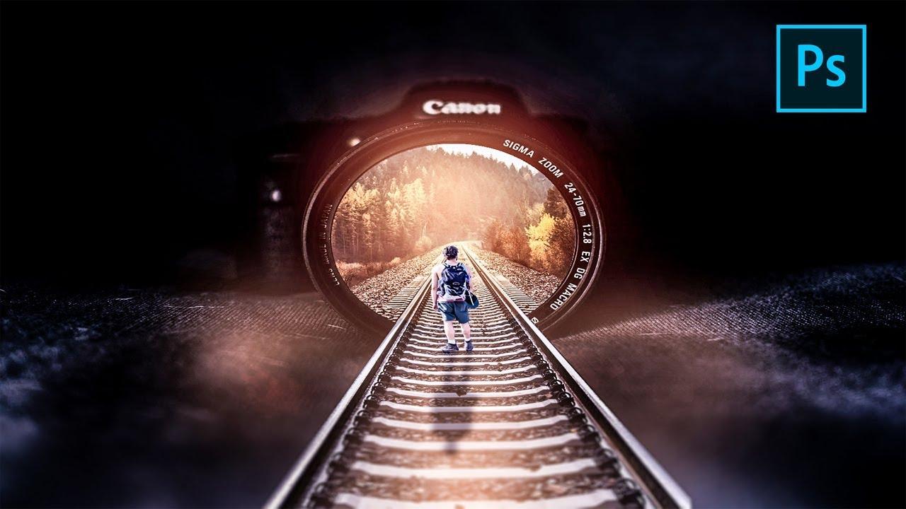 Photo Manipulation   Rail Inside Camera    Adobe Photoshop 2019