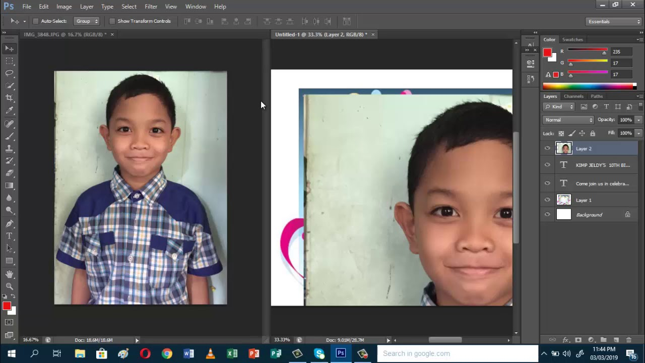 How to make birthday invitation card using Adobe Photoshop CS6