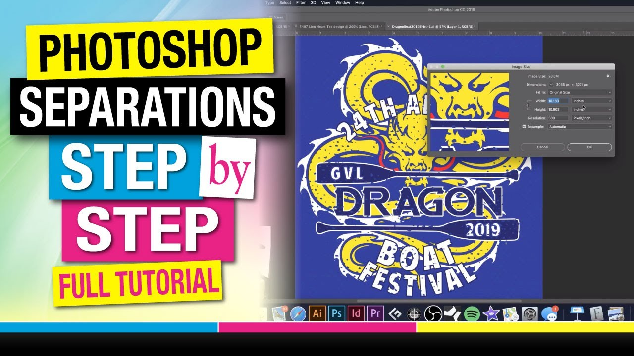 Step by Step How to Separate a 5 Spot Color Job in Adobe Photoshop for Screen Printing Tutorial