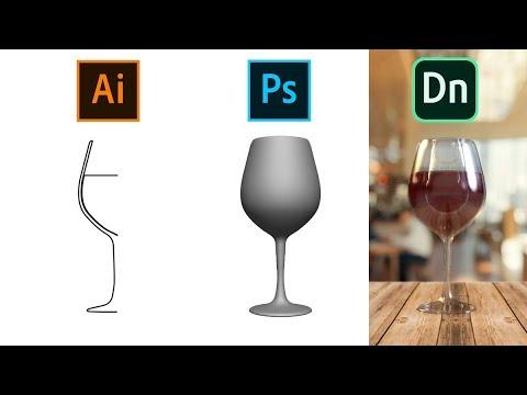 Create a Wine Glass (.obj) in Illustrator & Photoshop for Adobe Dimension