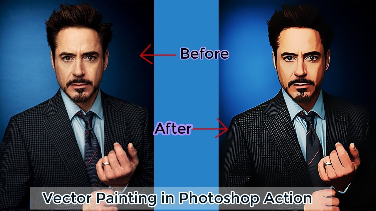 How to Vector Painting in Photoshop Action | Photoshop Tutorial | Adobe Photoshop CC
