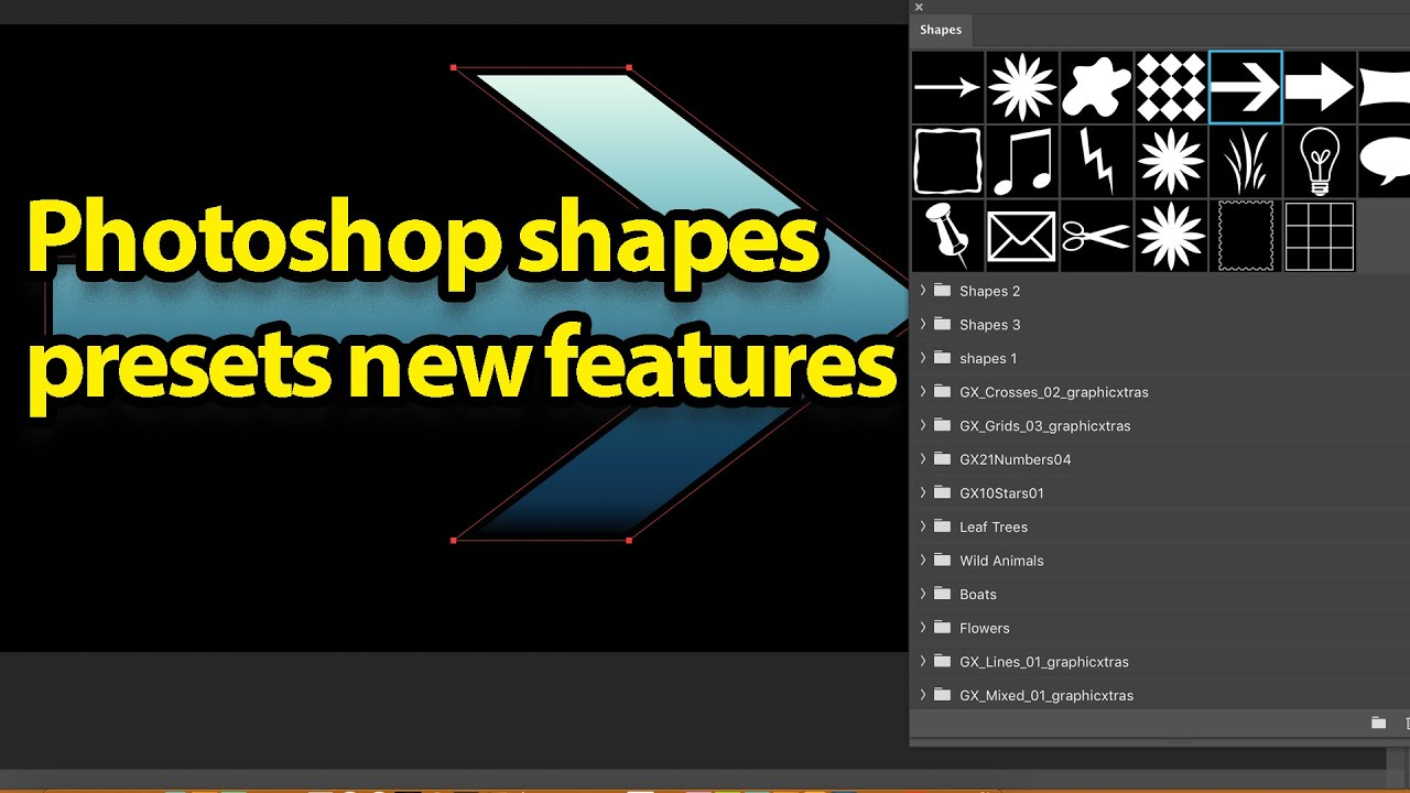 Photoshop shapes presets in CC 2020 tutorial new features