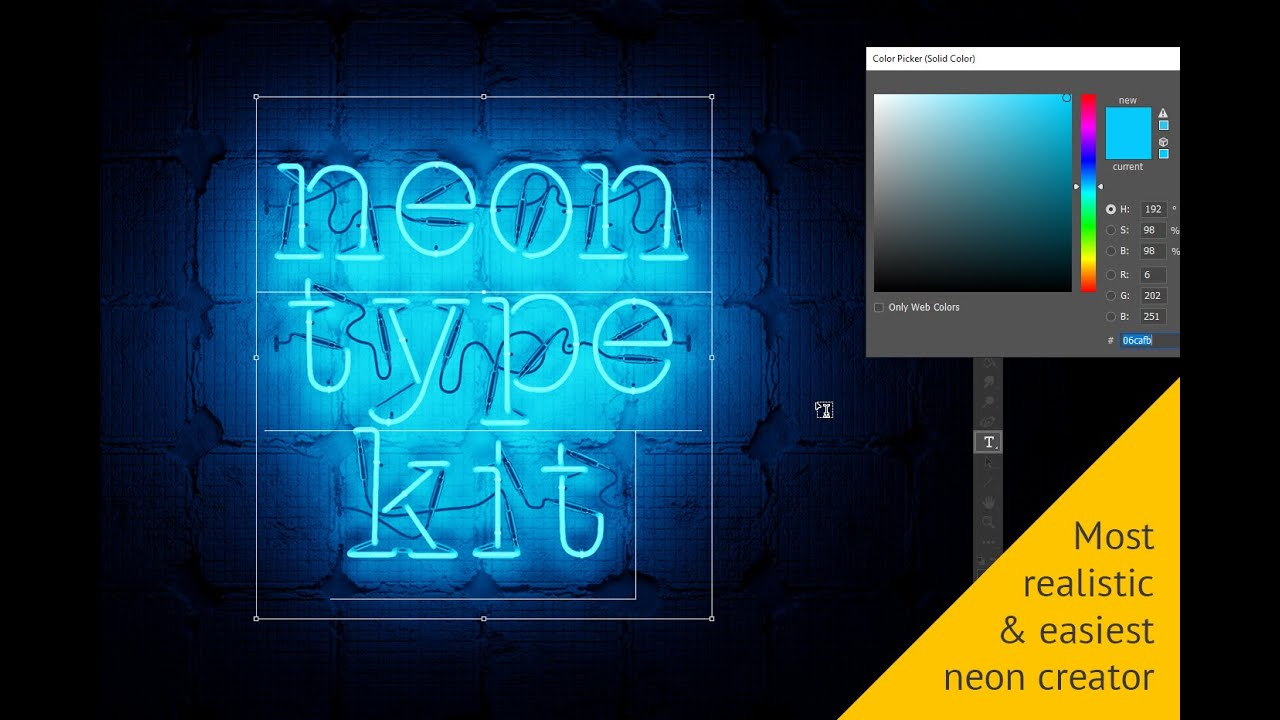 Realistic neon text in Adobe Photoshop tutorial