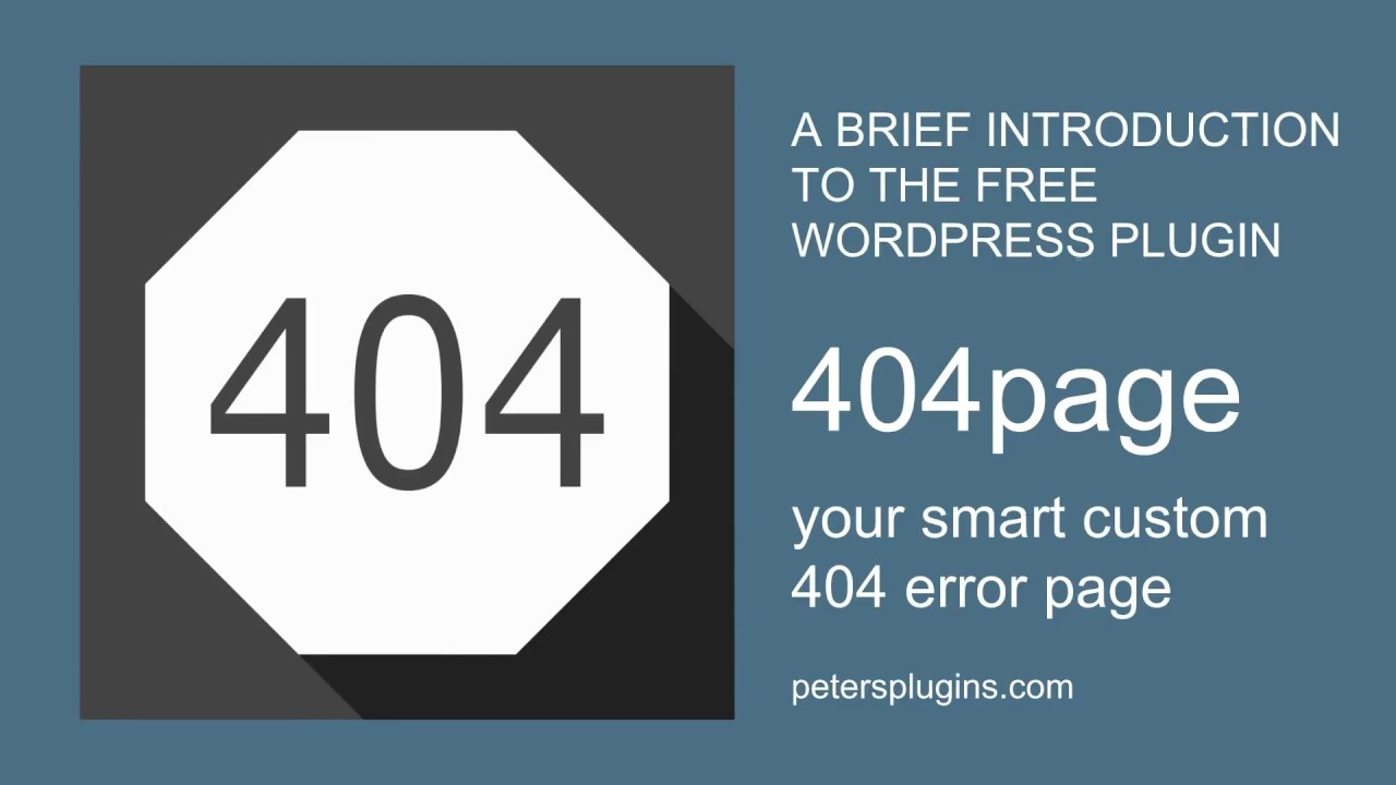 A brief Introduction to the free WordPress Plugin 404page