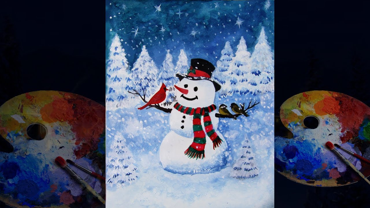 Snowman painting with bird tutorial video for beginners. How to draw scenery Christmas drawing 2019