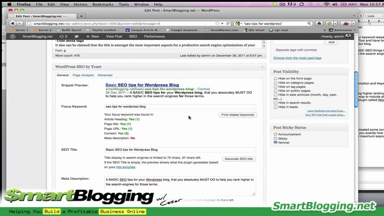 5 Basic SEO Tips for Wordpress Blog - Part 2 of 2