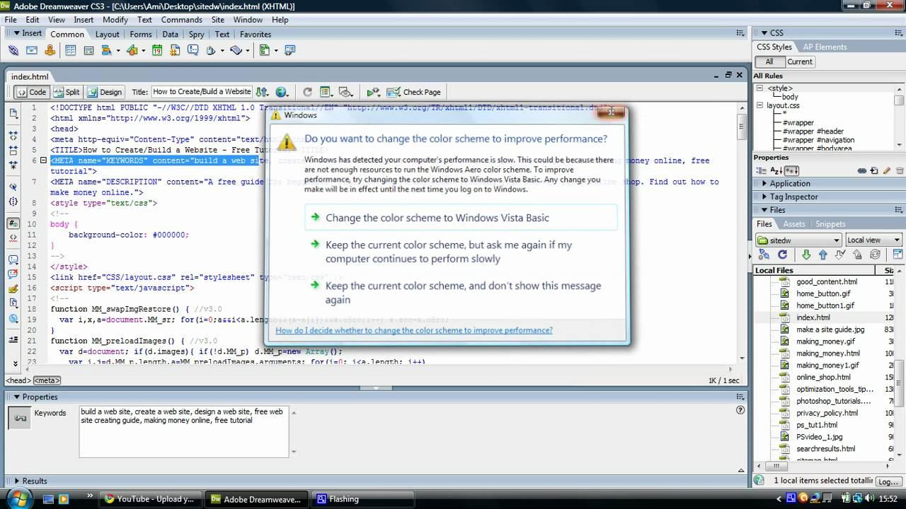 Dreamweaver Tutorial - Search Engine Optimization (SEO) Tips - Keywords, Title, Description