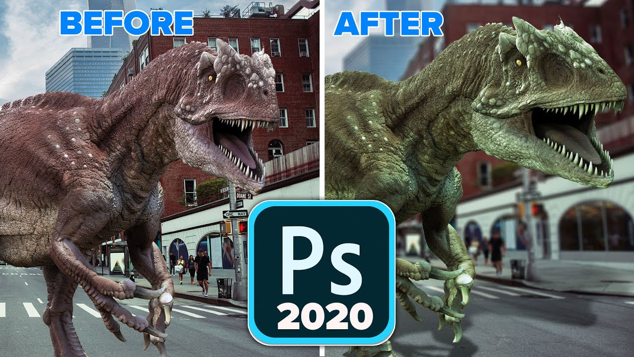 Photoshop 2020 New Features: Warping a dinosaur + Shadow