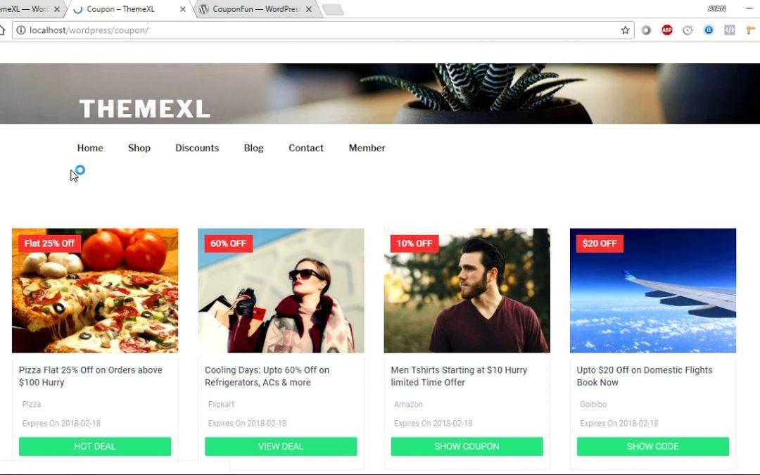 CouponFun WordPress Coupon Plugin by ThemeXL.com