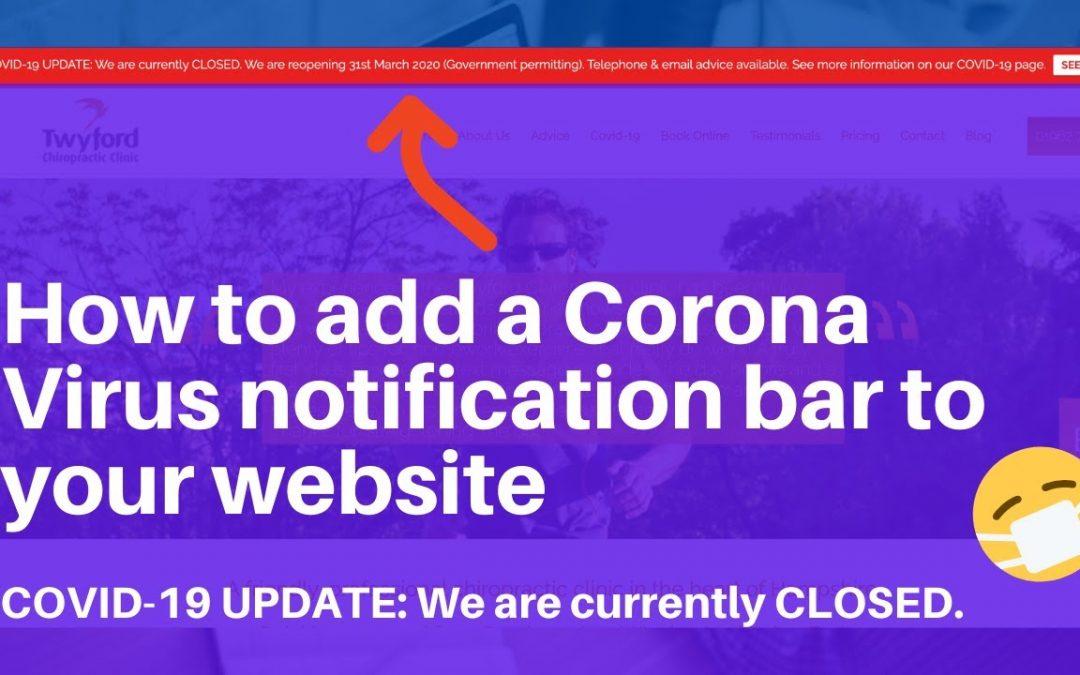 How to add a Corona Virus notification bar to your Wordpress website bar | Wordpress Tutorials