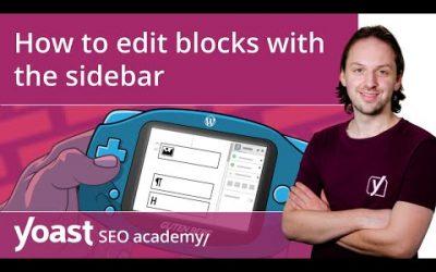 How to edit blocks with the sidebar in the WordPress block editor | Block editor training