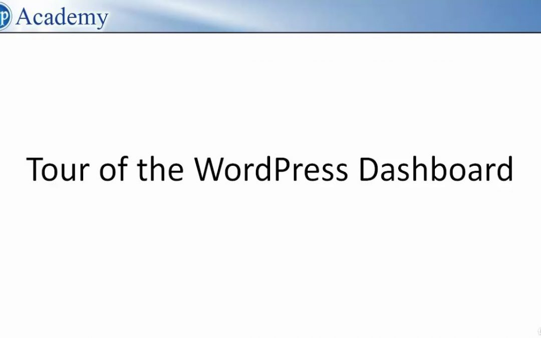 Wordpress Dashboard Tutorial 2020