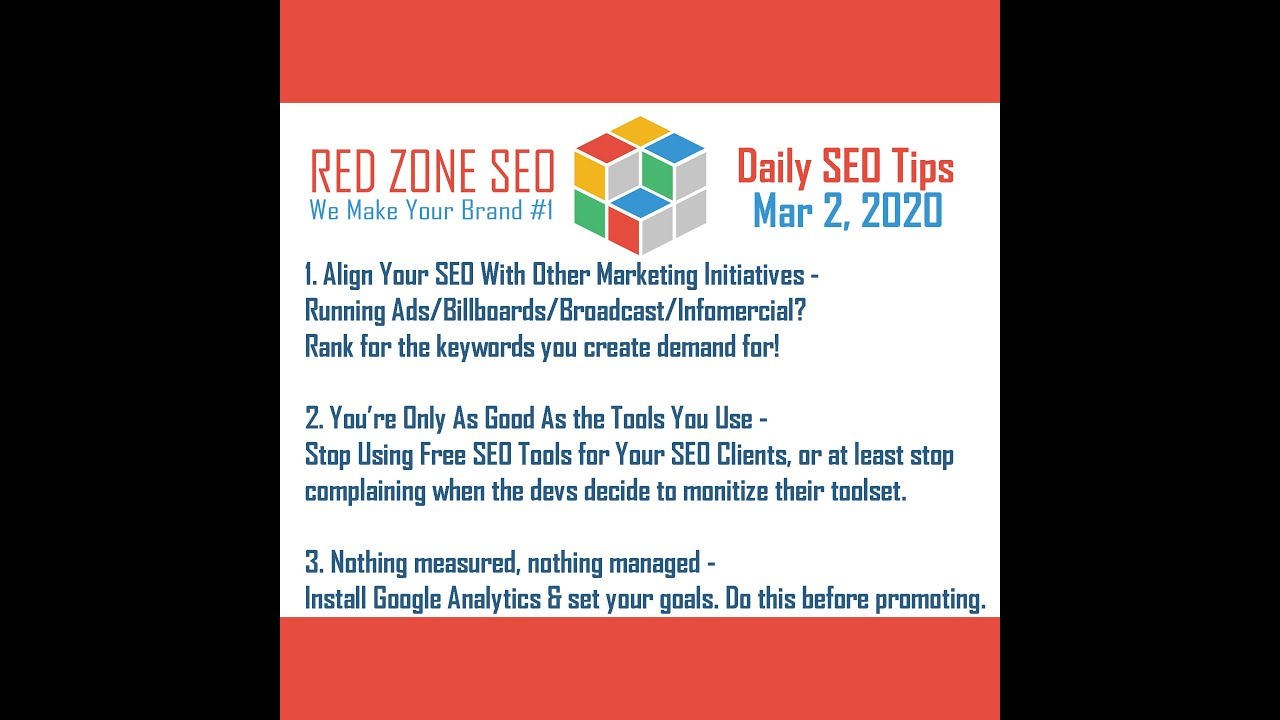 Top 3 Daily SEO Tips - March 2, 2020