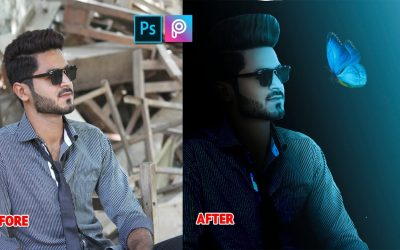 Picsart and adobe Photoshop cc tutorial edit dark tone effect with glowing butterfly awesome video
