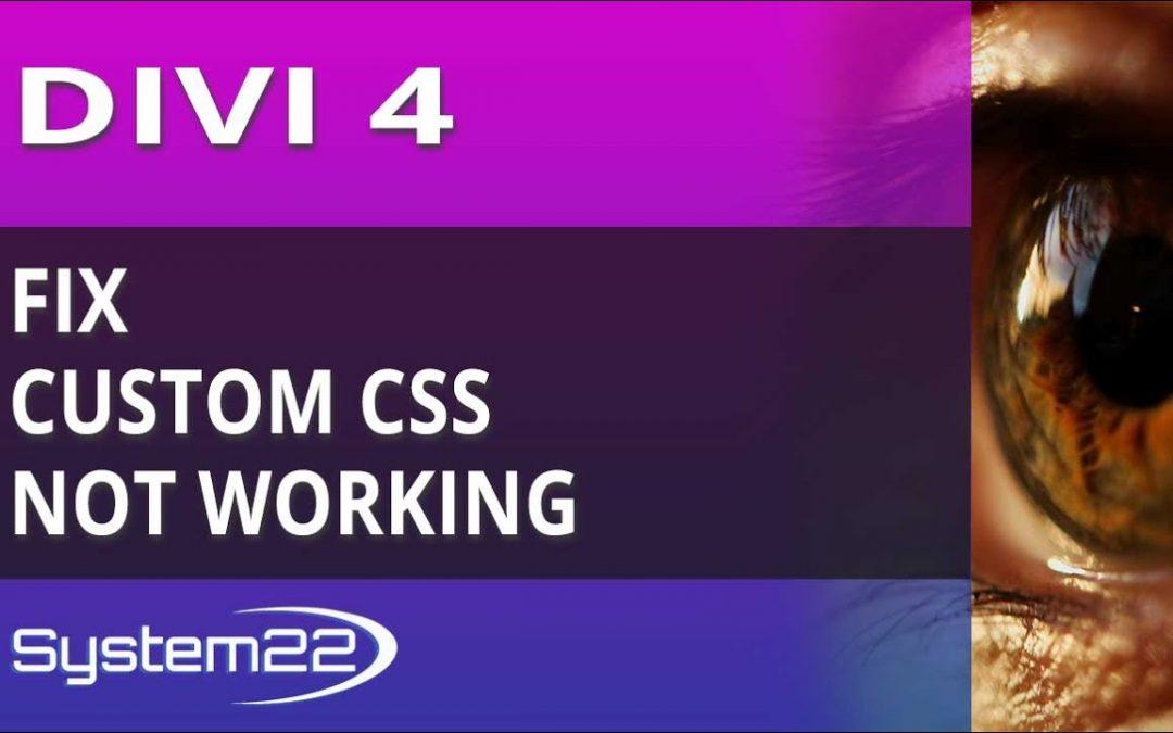 Divi 4 Fix Custom CSS Not Working