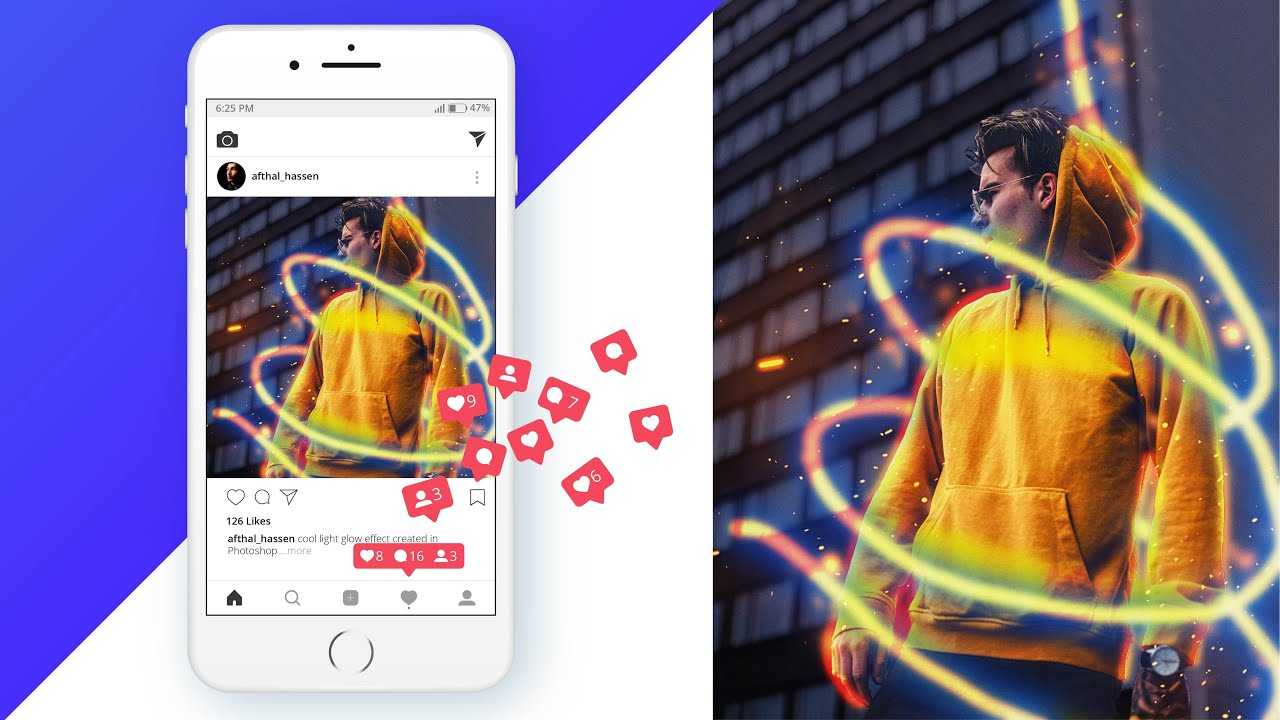 Instagram Photo Editing Tutorial In Photoshop Neon Light Glow Effect Dieno Digital Marketing Services