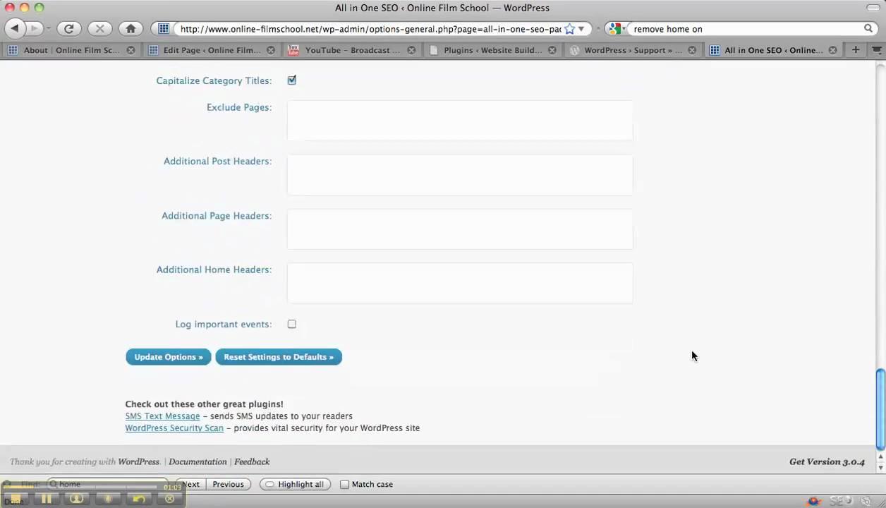 WordPress Tutorial  8 - Search Engine Optimisation 2