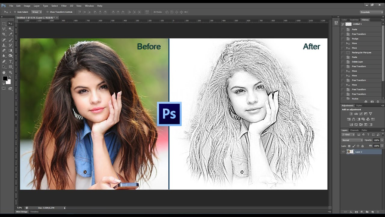 Photoshop Tutorial Pencil Sketch on Photoshop, How to Transform ...
