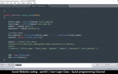 Do It Yourself – Tutorials – Social Website from scratch – Part 34 – User login Class | OOP PHP with MYSQL Database