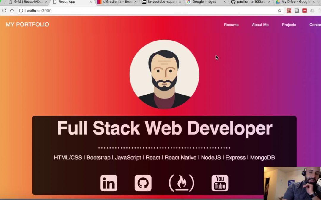 #2 Create React App Portfolio website Tutorial - Designing the landing page
