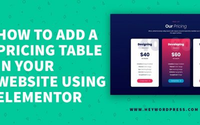 Do It Yourself – Tutorials – How to add a pricing table in your website using Elementor | Elementor Tutorial