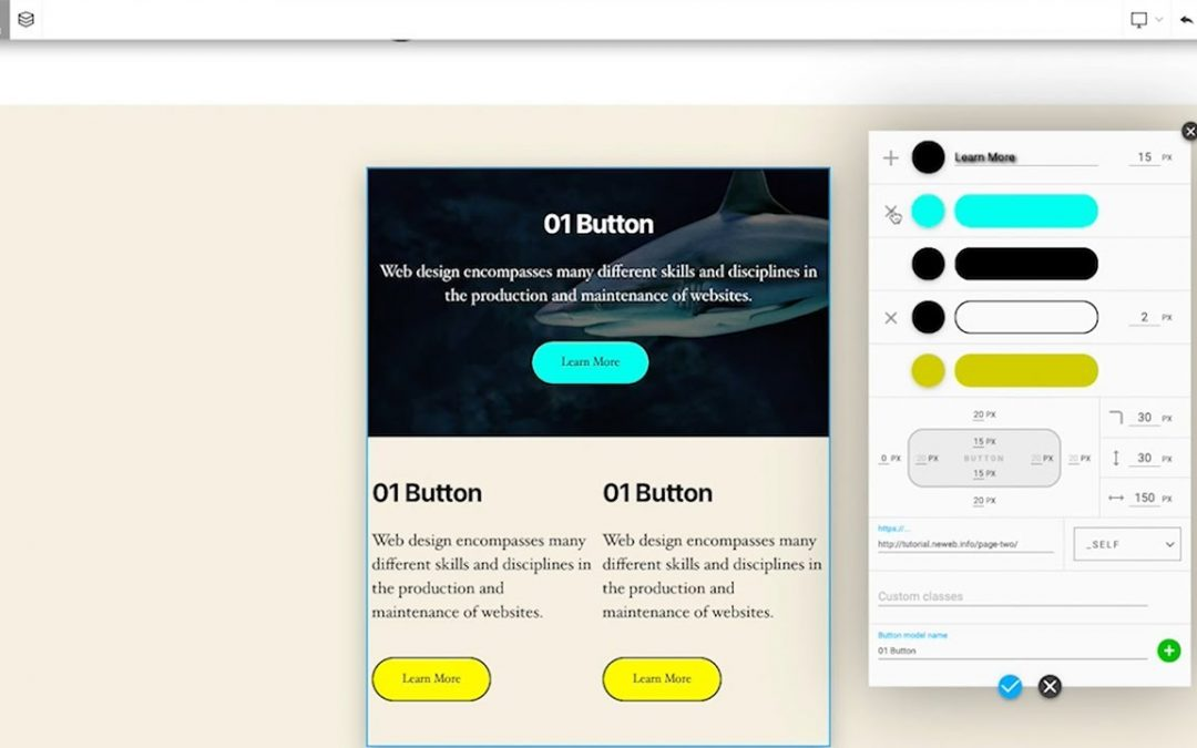 How to use button - REXPANSIVE builder - WordPress