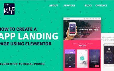 Do It Yourself – Tutorials – How to create a pro app landing website using Elementor   Elementor Tutorial Promo