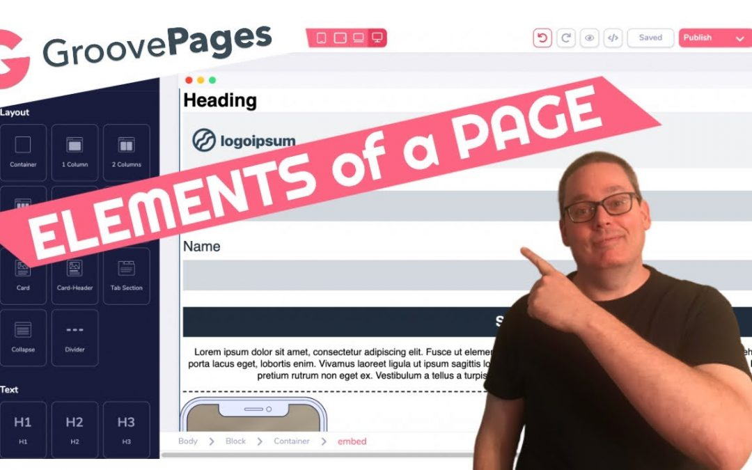 GroovePages Tutorial | Elements of a Page