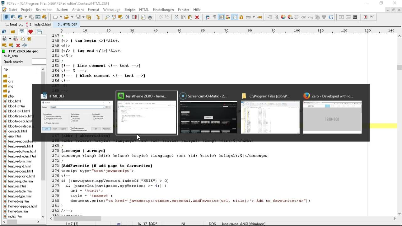 Lets Play making a Website: HTML/CSS 5 - Editor PSPad