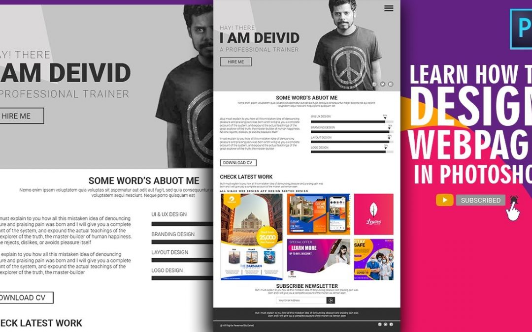 Photoshop Website Design Tutorial | Stylish Portfolio Design