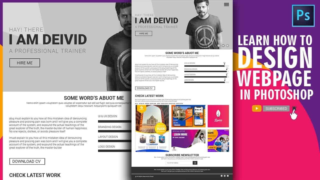 Photoshop Website Design Tutorial   Stylish Portfolio Design