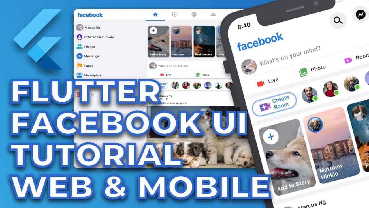 Flutter Facebook Responsive UI Tutorial | Web and Mobile