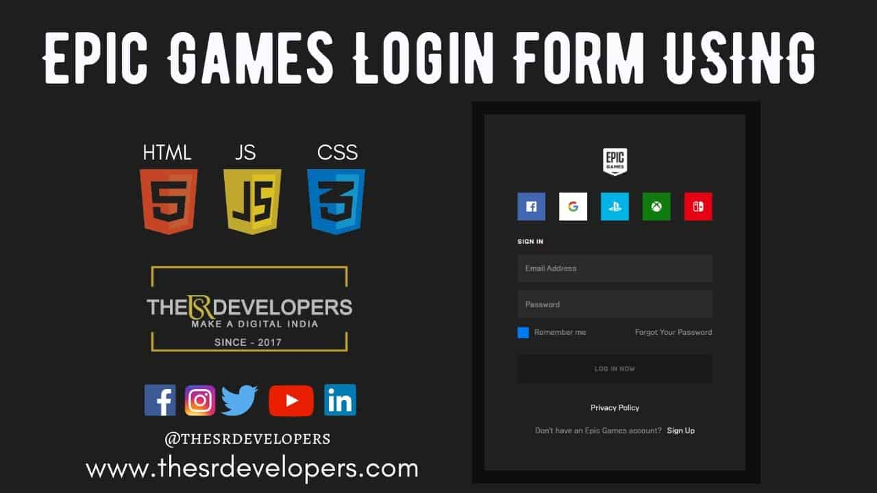 Epic Games Login Form With Validation Using HTML CSS & JQuery #thesrdevelopers #webdesign #css #html