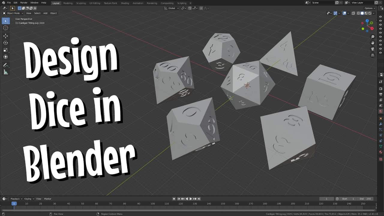 Design Your Own Custom Dice for Free | Blender Tutorial | DIY with Cly Ep. 21
