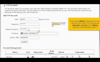 Do It Yourself – Tutorials – How To Create FTP Accounts In cPanel | Website Hosting Tutorial