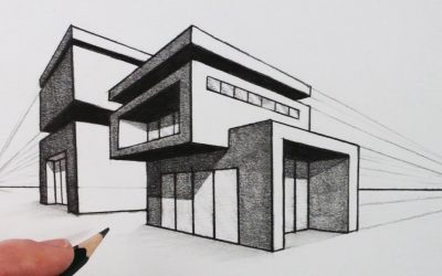 Do It Yourself – Tutorials – How to Draw a House in Two Point Perspective: Modern House