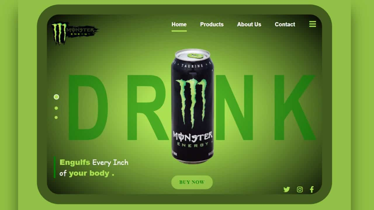 Landing Page for Monster Brand using HTML and CSS.