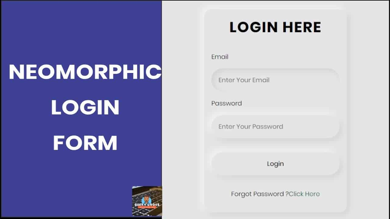 Neomorphic Login Form Design With HTML and CSS