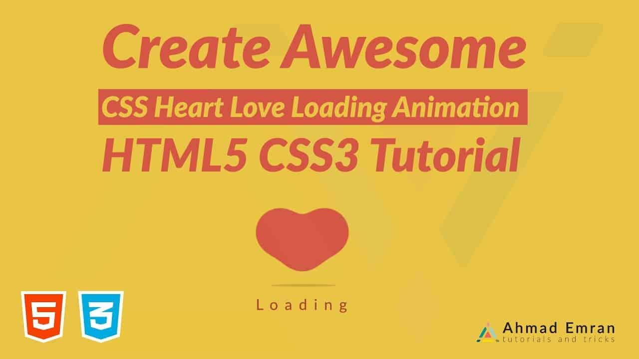Create Awesome CSS Heart Love Loading Animation | HTML5 CSS3 Tutorial