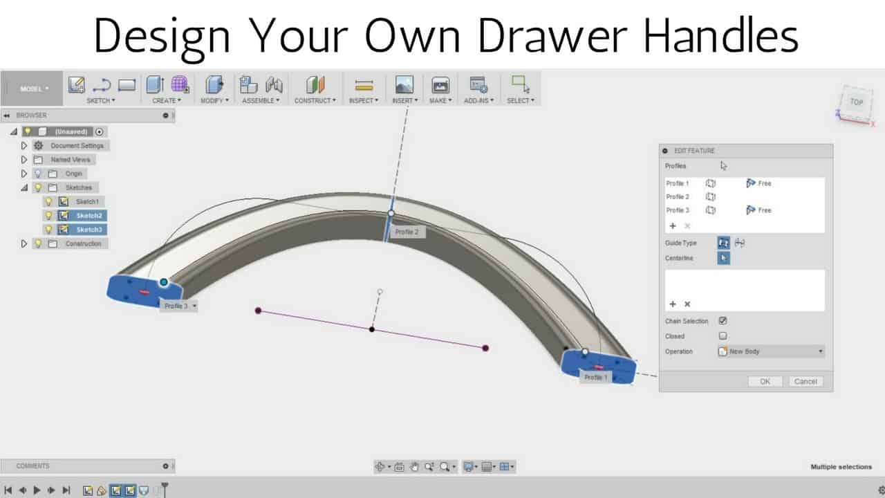 Design your own Drawer Handles in Fusion 360 - Loft Tool