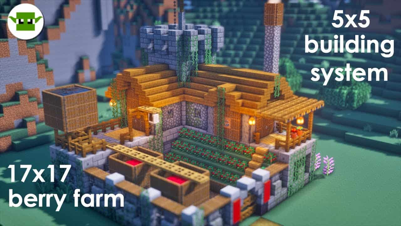 Minecraft   How to Build a Small Fortified Berry Farm [EASY 5x5 System]