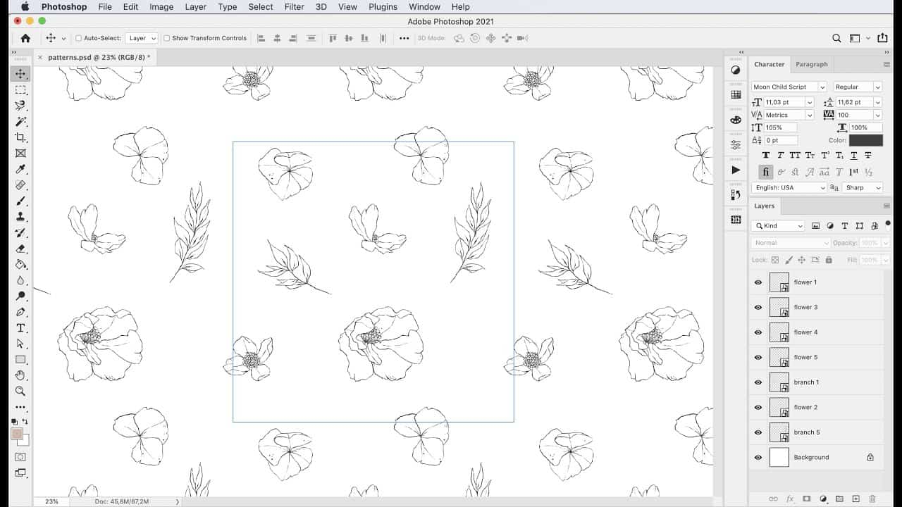 Pattern Preview in Photoshop 2021 - Create a grid repeat pattern tutorial