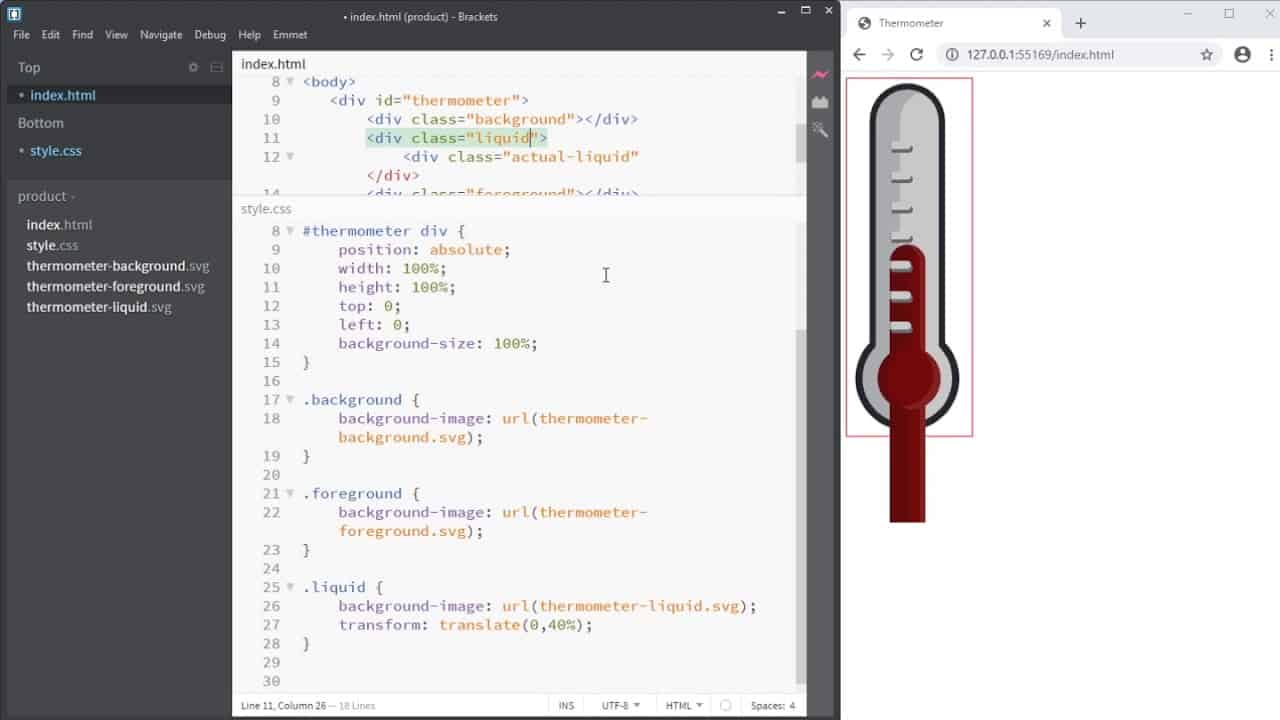 UI-elements - progressbar: thermometer-like - part 2: Implementing in HTML and CSS
