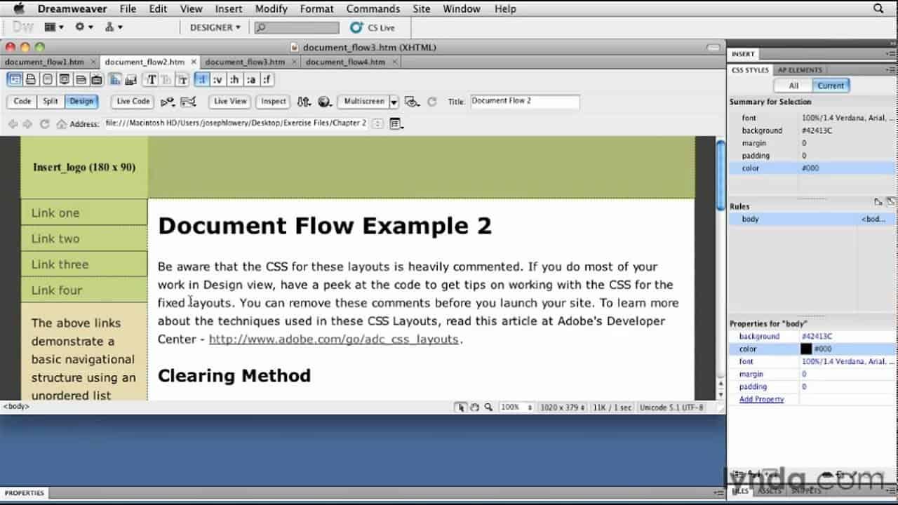 CSS tutorial: Exploring document flow | lynda.com tutorial