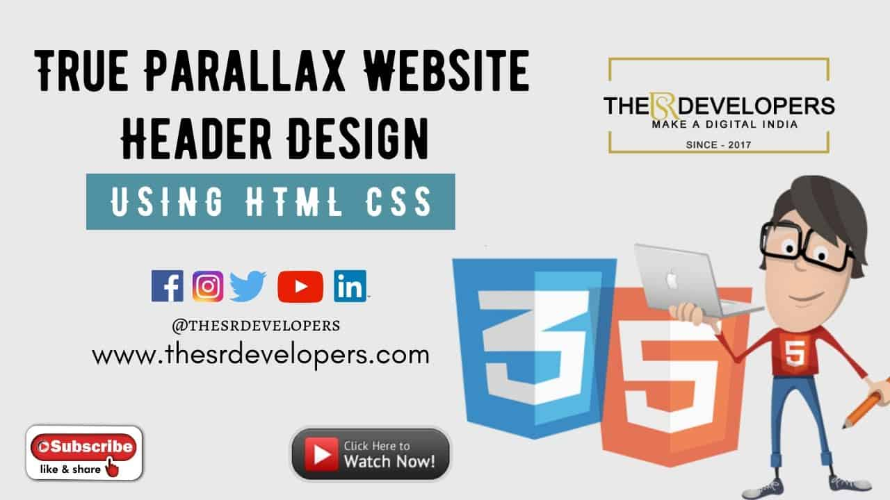True Parallax Website Header Design using HTML CSS #thesrdevelopers #webdesign #website #css #html