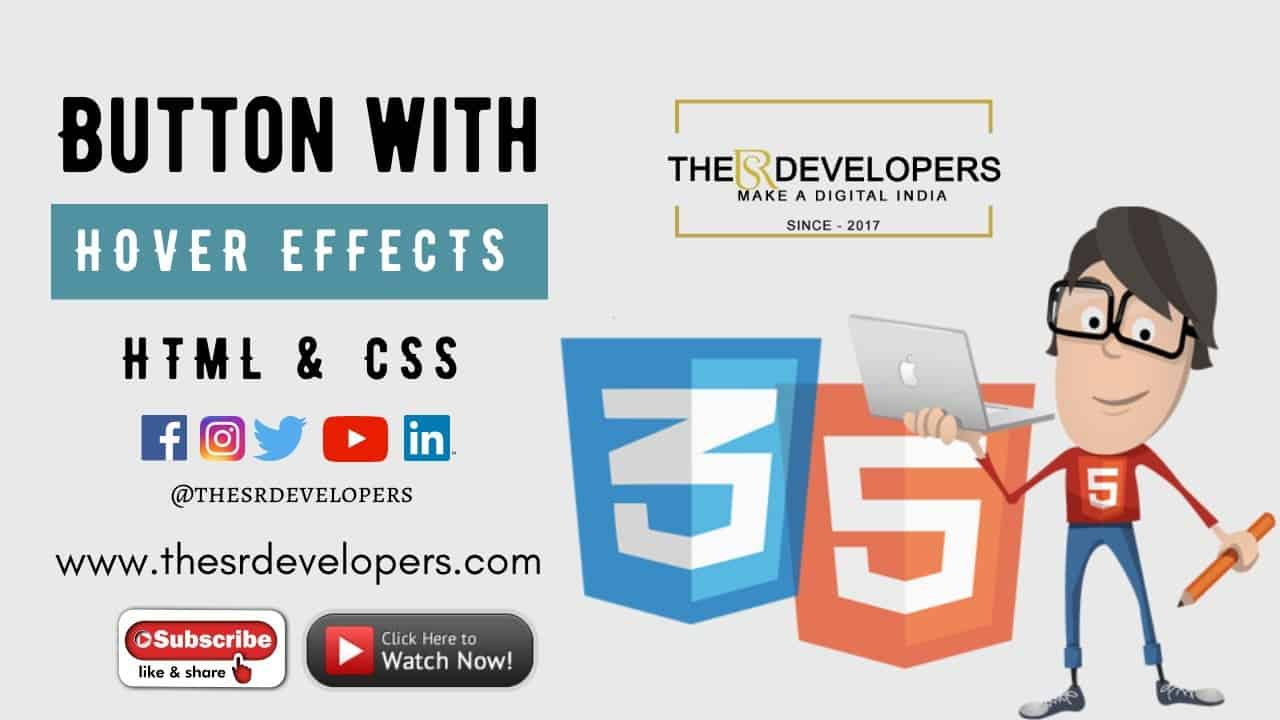 Button With Hover Effects Using HTML & CSS #thesrdevelopers #webdesign #button #effects #css #html