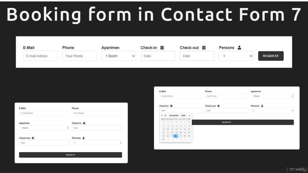 How to create responsive inline Booking form with Contact Form 7