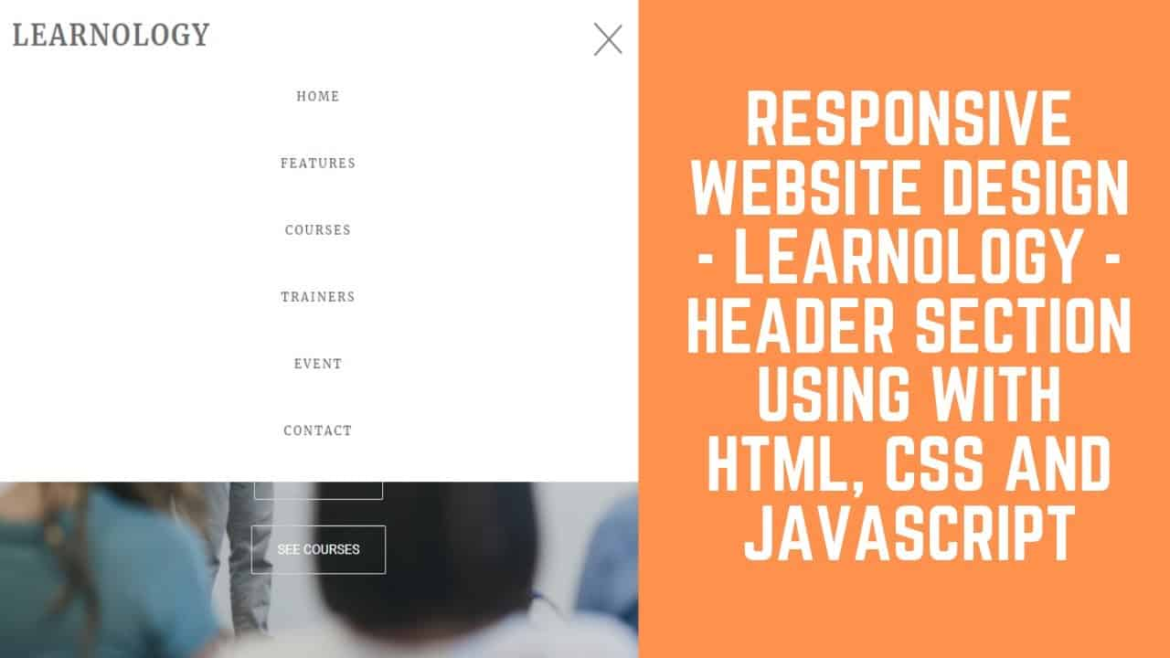Responsive Website Design - Learnology - Header Section Using With HTML, CSS And JAVASCRIPT