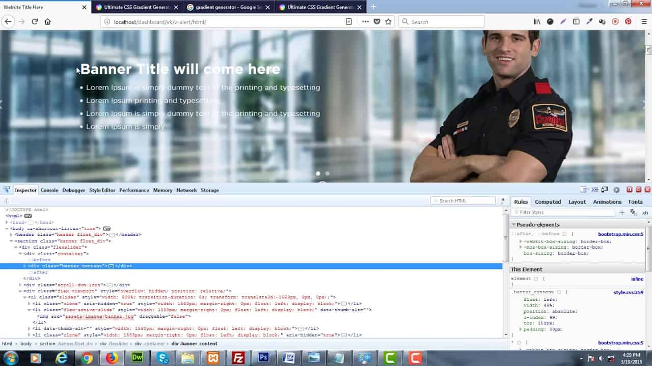 How to make transparent gradient background by html & css