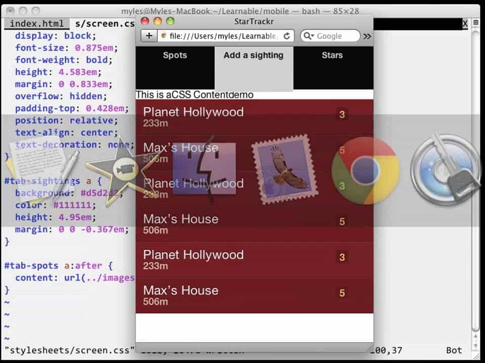 howto Build Mobile Apps Lesson 2 Step 3 CSS Sprites